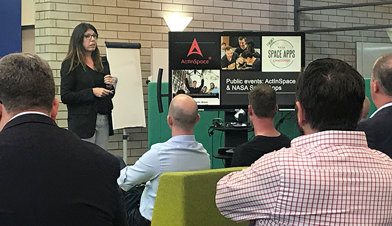 ICC's Jasmine Vreudgenburg presenting at the new Whyalla innovation hub